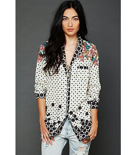 Free People Ethnic Diamonds Button Down