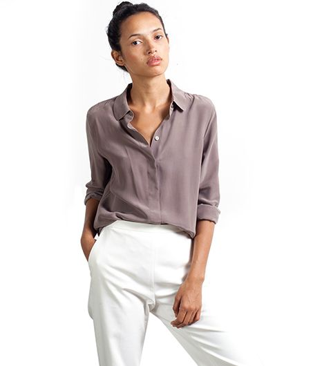 Everlane Silk Blouse Rounded Collar