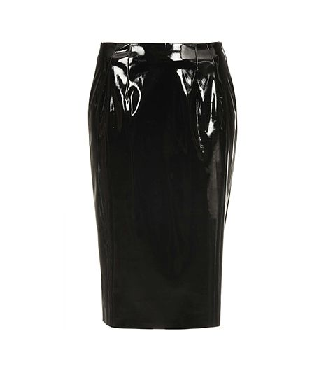 Topshop Black Vinyl Pencil Skirt