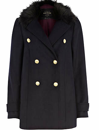River Island  Faux Fur Collar Double Breasted Coat