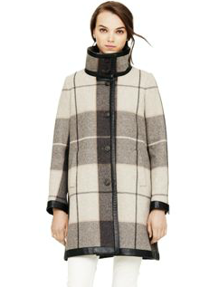 Club Monaco  Samira Plaid Wool Leather Coat
