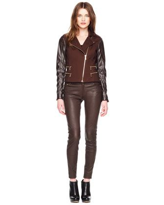 Michael Kors  Michael Kors Leather-Sleeve Zipper Jacket
