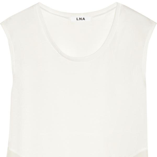 LNA  Camino Chiffon-Trimmed Slub Jersey Top