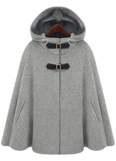 Sheinside  Hoodie Two PU Buckle Woolen Cape Coat