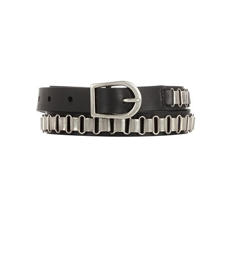 Isabel Marant Chain-Trimmed Leather Skinny Belt