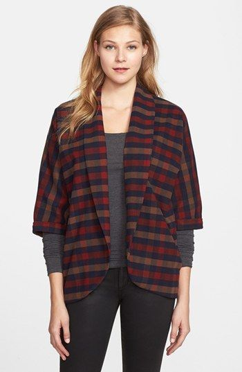 Olive & Oak  Plaid Open Front Jacket