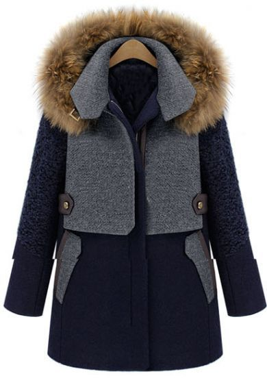 Sheinside  Blue Contrast Grey Panel Detachable Fur Hood Wool Blend Coat