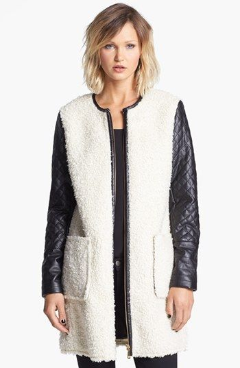 Vince Camuto  Faux Shearling and Faux Leather Coat