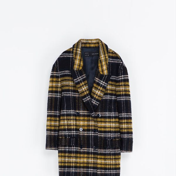 Zara  Checked Wool Coat
