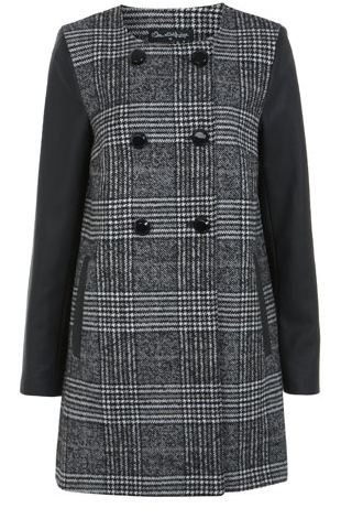Miss Selfridge   Black and White Check PU Coat