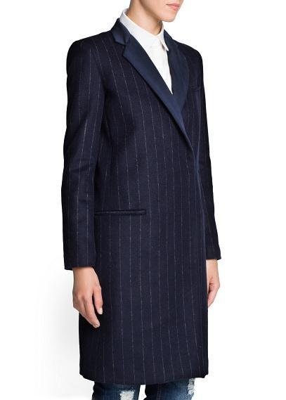 Mango  Pinstripe Wool-Blend Coat