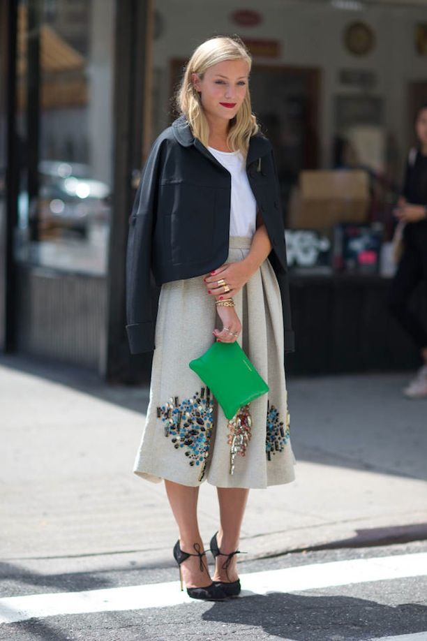 Street Style Inspiration For Styling Bold Lady-Like Midi Skirts