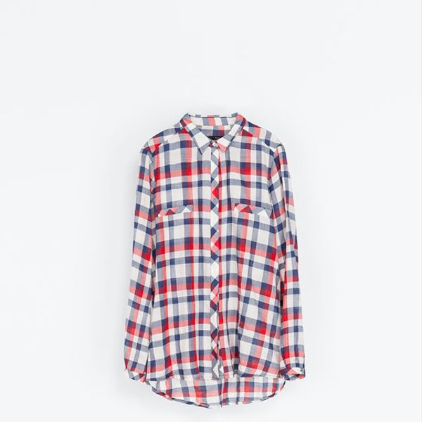 Zara  Checked Blouse