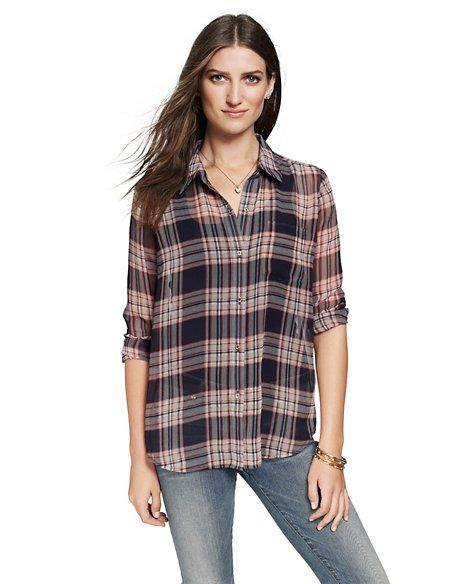 Juicy Couture  Sheer Plaid Blouse