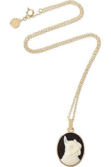 Marc by Marc Jacobs  Olive Painted Gold-Tone Cameo Necklace