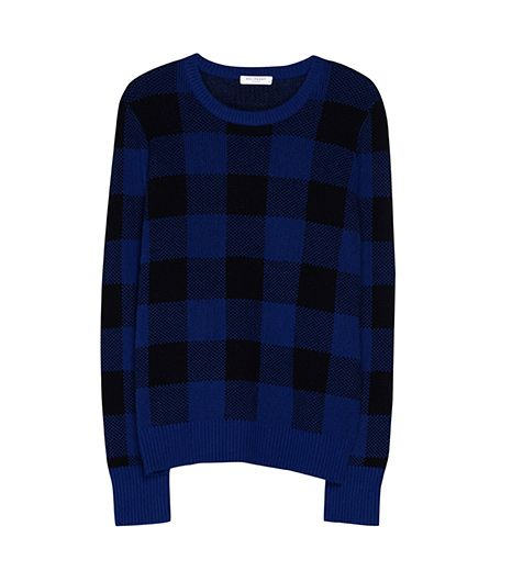Equipment Shane Crewneck in Royal Blue/Black Plaid