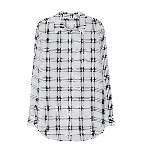 Equipment Reese Top in Nature White Houndstooth Check Print, $248