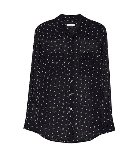 Equipment Slim Signature Top in Black Fleur de Lis Print, $228
