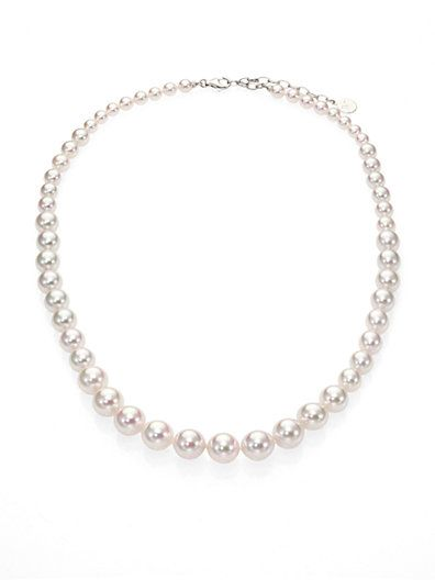 Majorca  White Round Graduated Pearl Strand Necklace