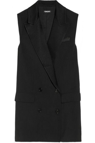 DKNY  Satin-Trimmed Wool-Blend Vest