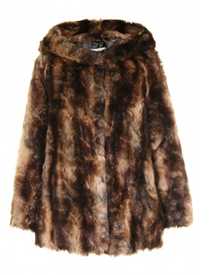 Marble  Soft Faux Fur Hooded Coat
