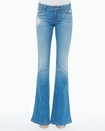 Alice + Olivia  Stacy Distressed Bell-Bottom Jeans