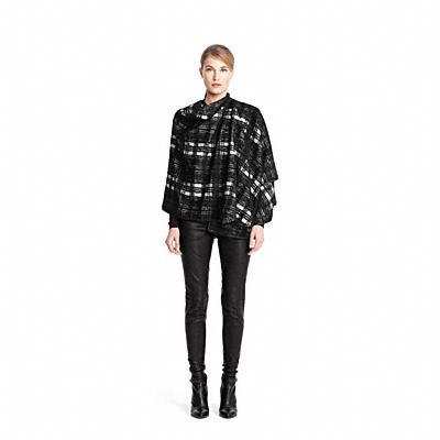 Coach Black and White Plaid Wrap Cape