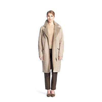 Coach Long Shearling Moto Coat