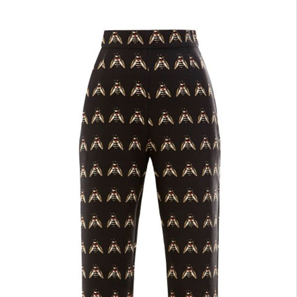 Mother Of Pearl Cotton Sateen Insect Printed Tailored Trousers
