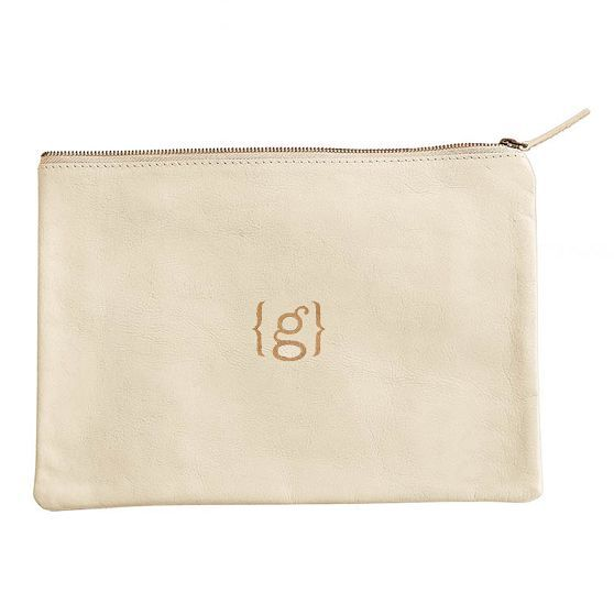 Mark and Graham  Everyday Leather Zip Pouch, Center Monogram, White - Personalized