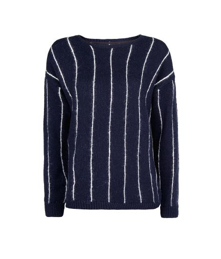 Mango PINSTRIPE WOOL COTTON-BLEND SWEATER