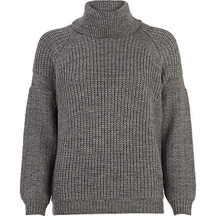 River Island  Grey Roll Neck Rib Sweater
