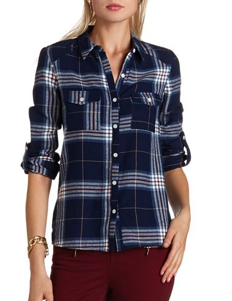Necessary Clothing  Open Back Plaid Shirt