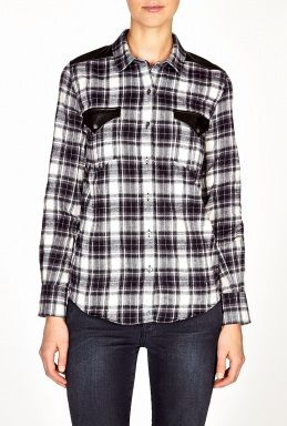 IRO  Halton Leather Trim Check Shirt
