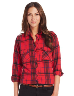C&C California  Women's Brushed Flannel Long Sleeve 2 Pocket Button Down Shirt
