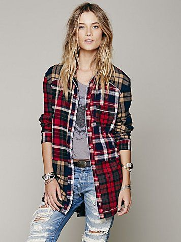 Free People  Paloma Plaid Sleep Shirt