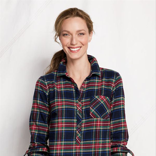 Land's End  Women's Regular Long Sleeve 2-Pocket Flannel Tunic