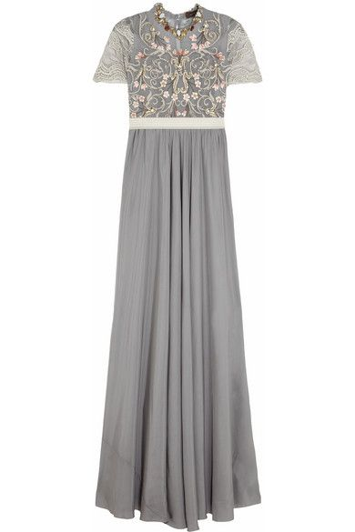 Biyan  Biyan Isobel Embellished Tulle and Satin Gown