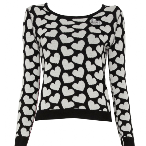 Alice + Olivia Emmy Heart-Print Sweater