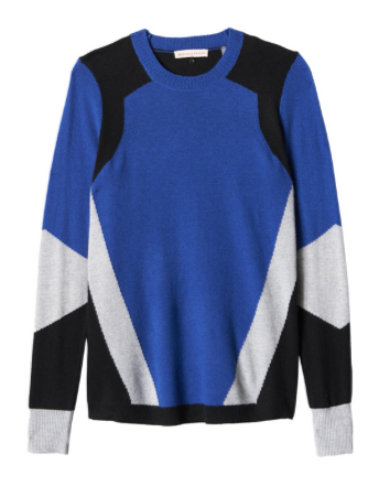 Rebecca Taylor  Long Sleeve Colorblock Intarsia Sweater