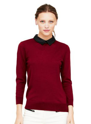Club Monaco  Riley Leather Collar Sweater