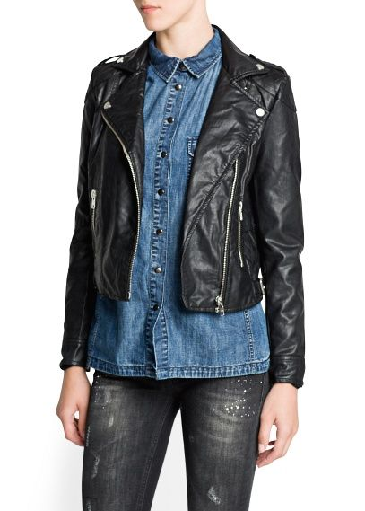 Mango  Faux Leather Biker Jacket