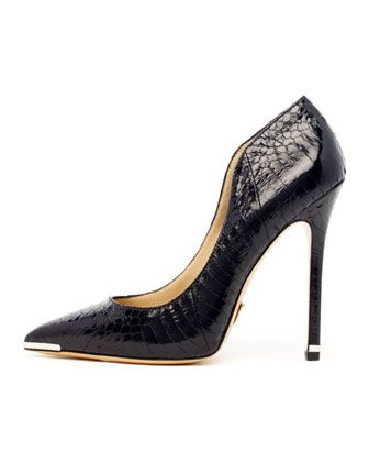 Michael Kors  Avra Pointed-Toe Snakeskin Pumps