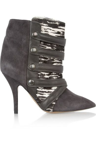 Isabel Marant  Tracy Suede, Printed Calf Hair Leather Boots