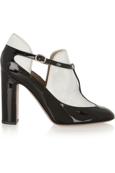 Valentino  Patent Leather and Velvet T-Bar Pumps