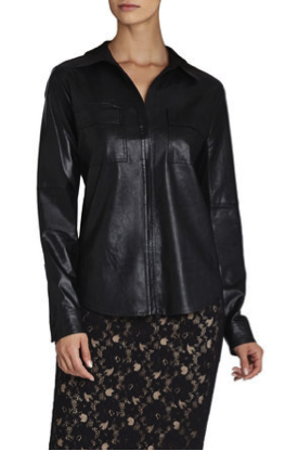 BCBGMAXAZRIA Torey Faux-Leather Button-Up Shirt