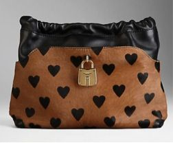 Burberry Prorsum  The Little Crush In Heart Print Calfskin and Leather