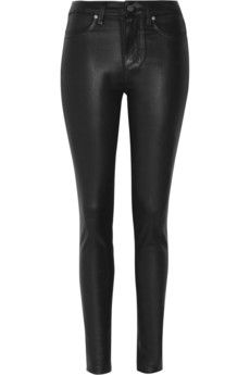 Paige  Hoxton Coated High-Rise Skinny Jeans