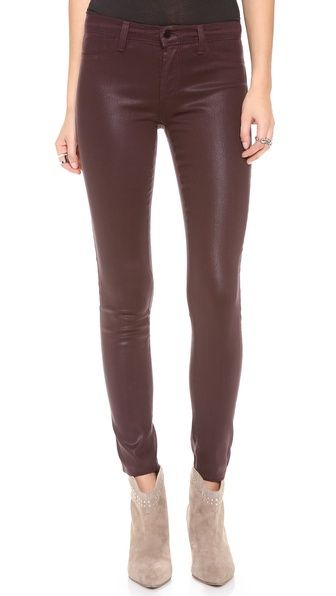 J Brand  485 Super Skinny Coated Jeans