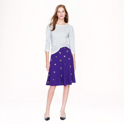 J. Crew Collection  J. Crew Collection Jeweled Crepe Skirt